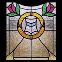 Antique Stained Glass Floral Crests