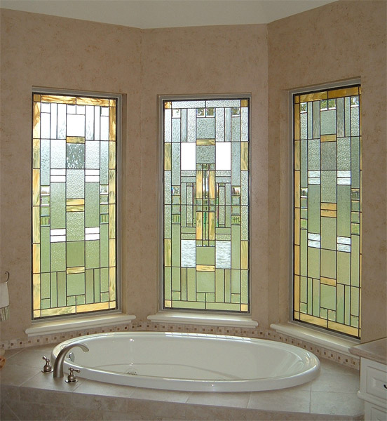 Bathroom Stained Glass Gold U0026 White Windows   BSG 12