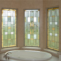 Bathroom Stained Glass Gold & White Windows - BSG 12