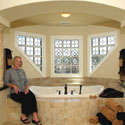 San Antonio Bathroom Stained Glass Partitioned Windows