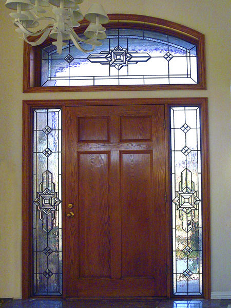 Mission style scottish stained glass custom studio for Custom transom windows