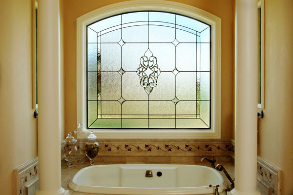 Beautiful stained glass for your bathroom Bathroom designs with window in shower