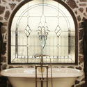 Castle Rock Privacy Bathroom Stained Glass Windows - CRSG 12