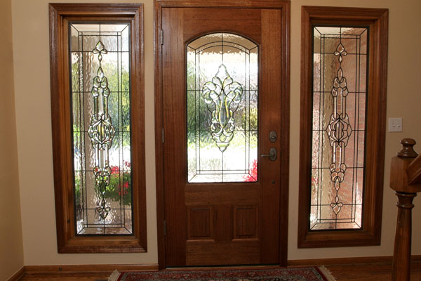 Stained glass doors scottish stained glass for Front entrance doors with glass