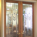 Salt Lake City Prairie Style Stained Glass Doors