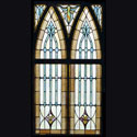 Religious Stained Glass Window Pair
