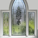 Stained Glass Arched Bathroom Windows
