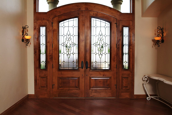 entryway sidelight and transom stained glass
