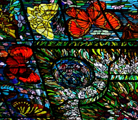 stained glass butterfly ceiling