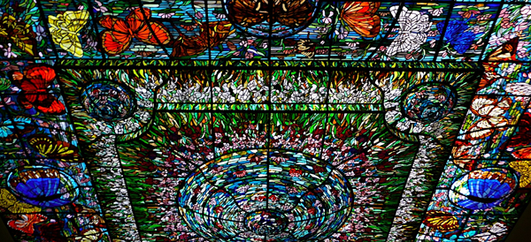 xcaret stained glass butterfly ceiling