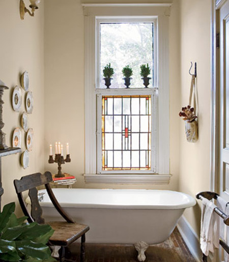 Traditional Stained Glass Bathroom Window