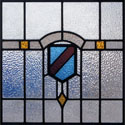Antique Stained Glass Blue Brown Crests