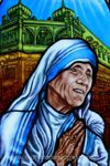 painted glass mother teresa artwork denver