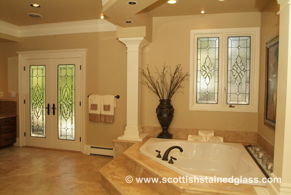 Stained Glass Bathroom Door & Window
