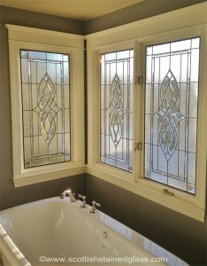 Bathroom Leaded & Beveled Stained Glass