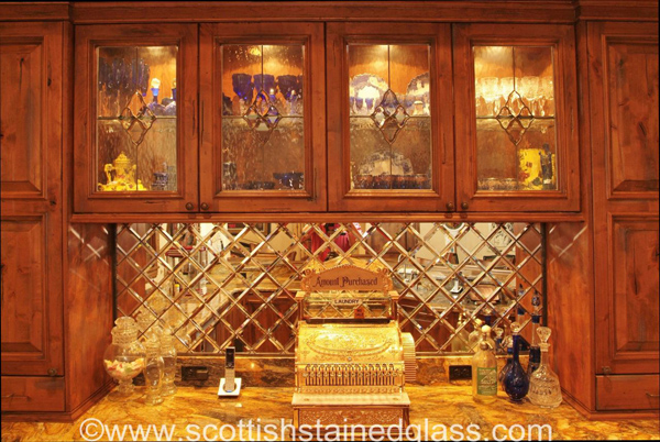 September 39 s beautiful stained glass scottish stained glass for Beveled glass kitchen cabinets