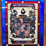 painted glass denver hanna family crest