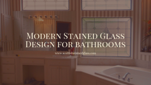 modern bathroom stained glass houston