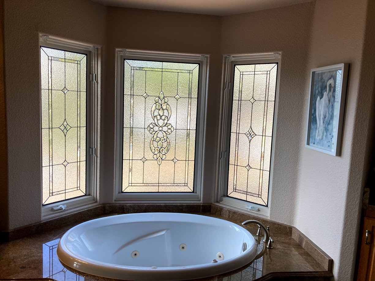 Bathroom Stained Leaded Glass Windows