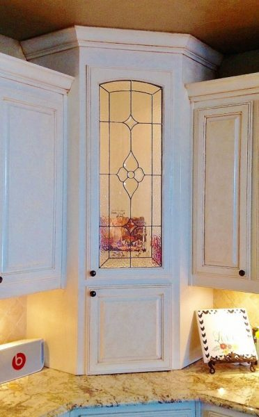 kitchen cabinet stained glass panels